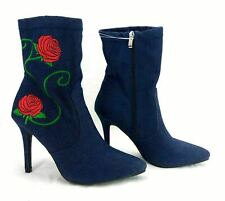 "Forever Women's Ankle Boots 4"" Spike Heel Pointed Toe Blue Denim Floral 6.5 *"
