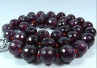 "8mm Faceted Garnet Red Gemstone Round Beads Necklace 18"" JN181"