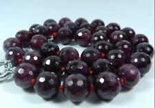 "8mm Faceted Garnet Red Gemstone Round Beads Necklace 18"" JN181"