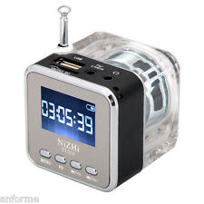 Usb Disk Fm Radio Mini Speaker Lcd Portable Stereo Sd/Tf Music Mp3 Player Black