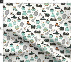 Cookies Cookie Food Halloween Biscuit Scary Spoonflower Fabric by the Yard
