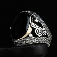 Turkish Jewelry 925 Sterling Silver black onyx Tughra Mens Mans ring ALL SİZE us