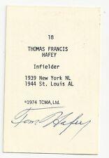 Autographed Signed 1974 TCMA 18 Thomas Francis Hafe St Louis Browns Dec 1996