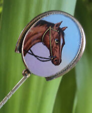 Vintage Horse Head Ceramic Stick Pin / Stock Pin / Brooch - Equestrian / Hunting