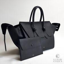 NEW AUTHENTIC CELINE TIE KNOT Grained Calfskin Black Small Tote Handbag