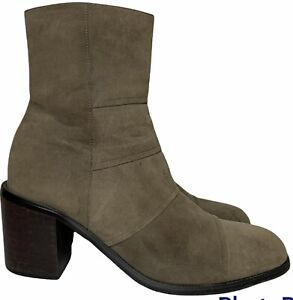 VTG 90s Womens 9 Olive Khaki Suede Boots Chunky Block Heel Platform Sole Y2K