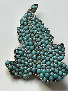 Antique Victorian vintage silver metal/turquoise beaded leaf shaped brooch pin