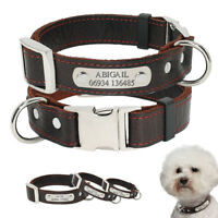 Custom Leather Dog Collar with Free Engraving Personalized Pet ID Tag Name Plate