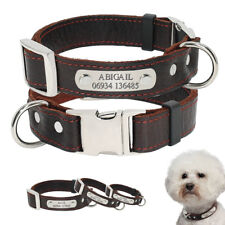 Dog Cat Collar Personalized Collar Engraved Name Number Soft Leather Dog Collar