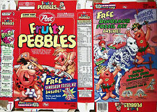 1997 Fruity Pebbles Dinosaur Fossil Kit Cereal Box s22