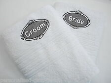 PERSONALISED BRIDE & GROOM TOWELS, PERSONALISED TOWELS, WEDDING GIFT