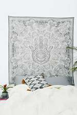 Fatima Hand Hamsa Wall Hanging Twin Tapestries Bedspread Throw Ethnic Decor