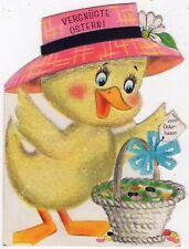 Künstler-AK Ostern / Glimmer-Küken mit Hut und einem Korb vom Osterhasen