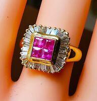 Genuine Princess Ruby Diamond Ring 14kt Yellow Gold 2.62ct Ballarina ring