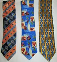 NEW 3 VINTAGE MEN'S TIES QUIRKY FUNKY MULTI PRINT FOLKSPEARE & TOOTAL
