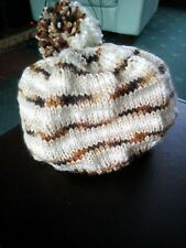 Hand Knitted Striped Bobble Hat Boys