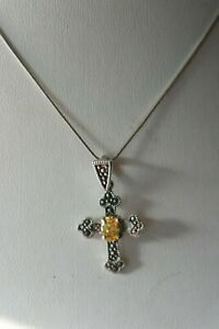 Beautiful 925 Silver Cross With Citrine Marcasite Gems 2.6 Gr. 3 x 2 Cm. Wide