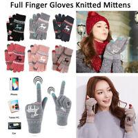 Winter Christmas Elk Wool Knitted Gloves Thick Warm Full Finger Fleece Mittens-R