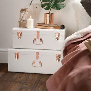 Set of 2 Cream Storage Trunks Rose Gold Organizer Box Vintage Style Chest New