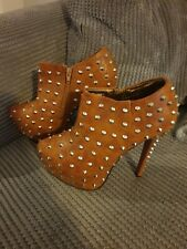 brown stud stilletto boots 7 new