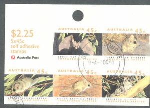 Australia-Threatened Species 1992 self-adhesive sheetlet fine used cto