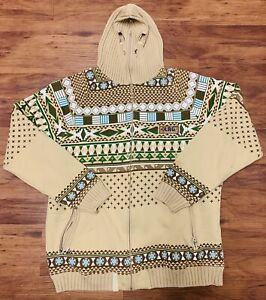 VTG RARE LIFTED RESEARCH GROUP LRG POWDER MOVES TRIBAL SKI MASK HOODIE SIZE 2XL