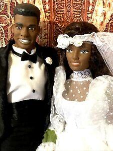 Vintage Black AA BARBIE & Ken CLONE Wedding Couple Rare HTF! 🔔
