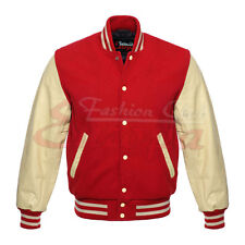 RED  Varsity Letterman Wool Jacket with Leather Sleeves