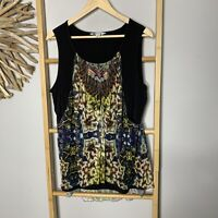 Rockmans Size XL 16 Womens Top Mesh Tank Blouse Boho Black
