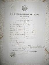 U269-LOMB.VENETO-VERONA PASSAPORTO PER L'INTERNO 1856