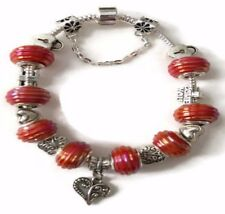 Heart Love European Silver Charm Bracelet With Red Murano Beads