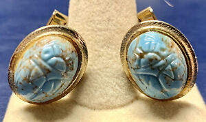 """NICE VINTAGE TURQUOISE GLASS SCARAB 1"""" by 3/4"""" CUFFLINKS - FREE US SHIPPING"""