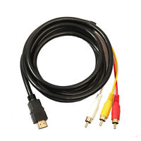 HDMI Male to 3 RCA Video Audio Converter Component AV Adapter Cable HDTV 1.5M
