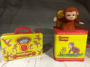 Collectible Kids Curious George Monkey Wind Up Music Lunch Box and pop up toys