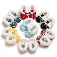 Newborn Baby Girls Boys Booties Pure Color Bandage Snow Boots Toddler Warm Shoes