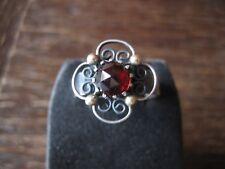 prächtiger antiker Trachten Dirndl Granat Ring 800er Silber Handarbeit RG 57