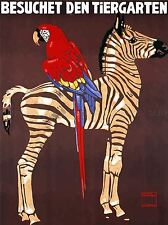 EXHIBITION COMMERCIAL ADVERT ZOO ZEBRA PARROT GERMANY VINTAGE POSTER 848PYLV