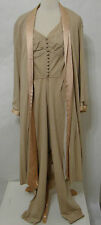LUCIE ANN Jumpsuit & Jacket Vintage 2pc Beige Bias Cut Silk Zip Front Halter