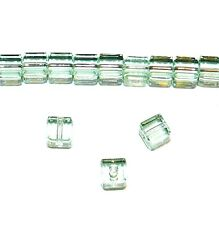 SCC118 Chrysolite Green 4mm Faceted Square Cube Swarovski Crystal Beads 12pc