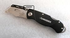 HUSKY FOLDING LOCK-BACK UTILITY KNIFE ALUMINUM HANDLE & CLIP  QUICK CHANGE BLADE