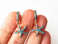 ROSE GOLD PLATED 925 STERLING SILVER TURQUOISE SEA STAR EARRINGS HANDMADE