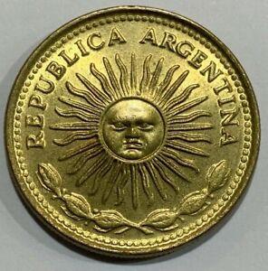 1977 Argentina 10 Pesos 'Sol de Mayo' aUNC Coin