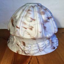 Vintage Art Deco Marbled Glass Light Shade, Spatter / Mottled White & Brown