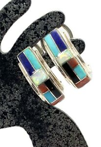 Southwestern Navajo Style Sterling Silver Turquoise Multi Stone Inlay Earrings