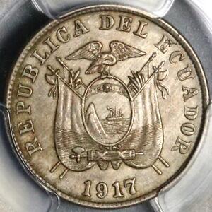 1917 PCGS MS 63 Ecuador 2 1/2 Centavos Mint State Coin (21080902C)