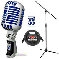 Shure Super 55 Deluxe Vocal Microphone w/ Boom Stand & Pig Hog B&W Woven Cable