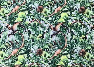 0.5 metre Leafy Dinosaur Digital Cotton 100% Cotton Fabric 149cm wide