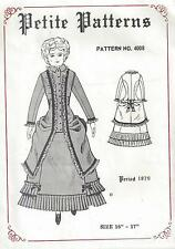 "16-17""ANTIQUE FRENCH FASHION LADY DOLL@1879 BUSTLE DRESS&JACKET/POLONAIS PATTERN"
