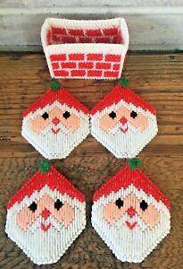 Vtg Handmade Plastic Canvas Santa Claus Christmas Coaster Set of 4 Needlepoint