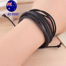 Fashion Men's  Multilayer Black PU Leather Wristband Cuff Bracelet Jewelry MMMM